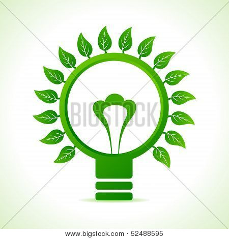 Leaf around the green bulb stock vector