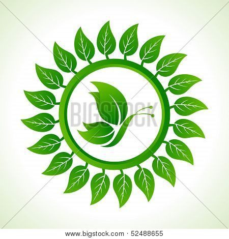 Eco butterfly inside the leaf background stock vector
