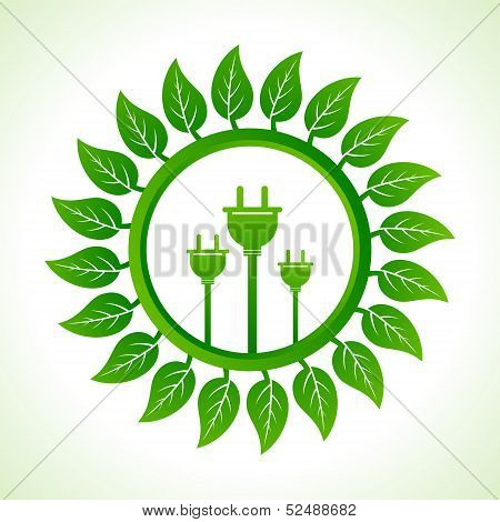 Eco plug inside the leaf background stock vector