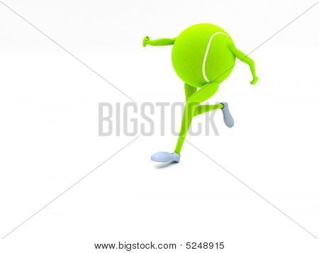 Front View Of Three Dimensional Running Tennis Ball