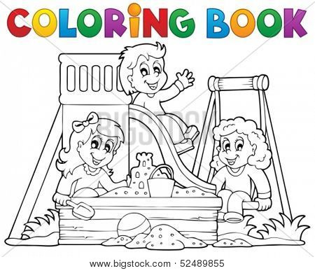 Coloring book playground theme 1 - eps10 vector illustration.