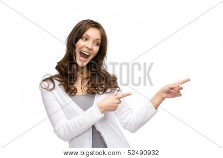 Half-length portrait of lady pointing hand gesture, isolated on white