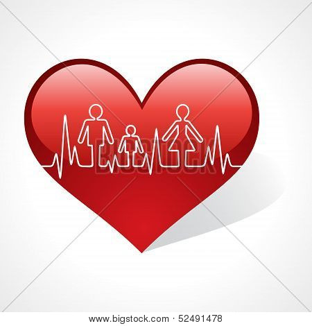 Heartbeat make family icon inside the heart symbol stock vector