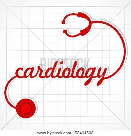 Stethoscope make cardiology word stock vector