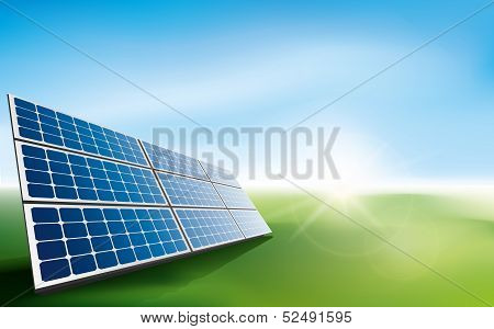 Solar panels in a field of grass
