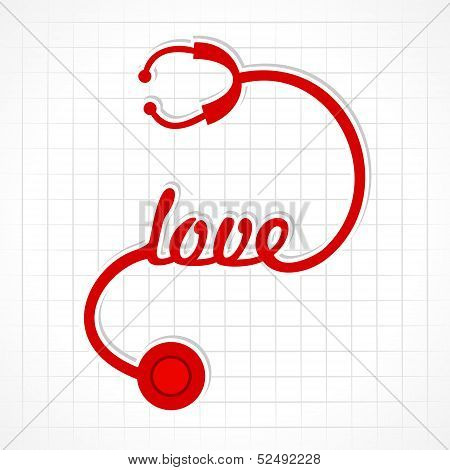 Stethoscope make love word stock vector