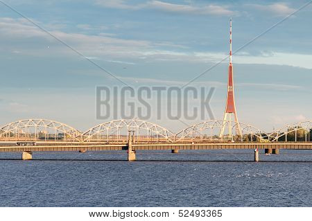 Tv Tower And The Daugava River