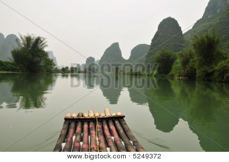 Bamboo Raft On Li River Near Guiling, Guanxi Province, China