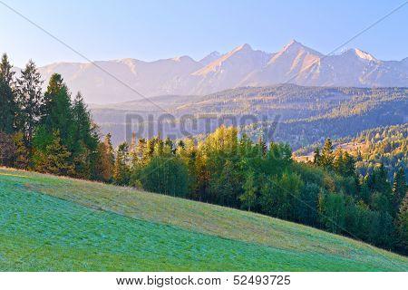Dawn Over The High Tatra Mountains. Carpathians, Podhale, Poland.