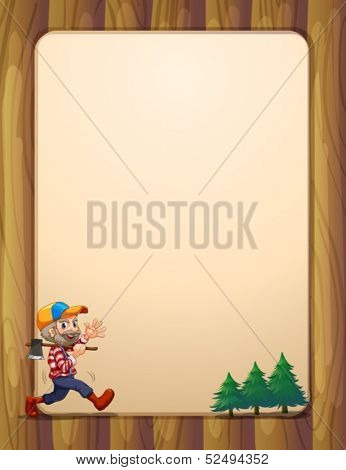 Illustration of a woodman walking with an axe in front of the empty signboard