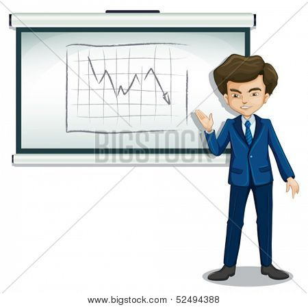 Illustration of a businessman explaining the graph in the bulletin board on a white background