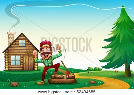 Illustration of a hilltop with a happy lumberjack cheering