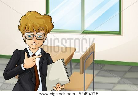 Illustration of a businessman with a binder standing near the wooden chair and table