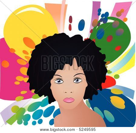 Lady On Color Background