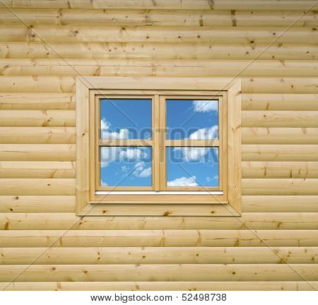Wooden Cottage Wall of Chalet with Window