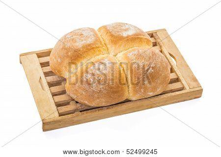 Four Buns Bread On Board