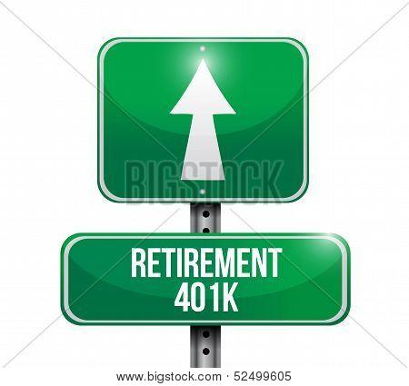 Retirement 401K Road Sign Illustration Design