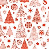 Pretty red tree Seamless Pattern - access swatch to fill in your designs