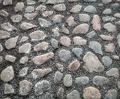 foto of tile cladding  - Background texture of old cobblestone road surface - JPG