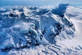 picture of denali national park  - Aerial View of Ice Sculpted Mountain Tops in the Great Alaskan Wilderness - JPG