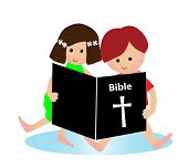 stock photo of bible story  - little boy and girl reading bible isolated on white - JPG