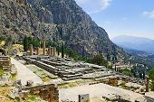 Ruins Of Apollo Temple In Delphi, Greece