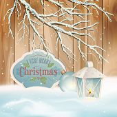 picture of snow border  - Vector vintage Christmas background - JPG