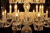 pic of chandelier  - Big crystal chandelier with bulbs in candle shape - JPG