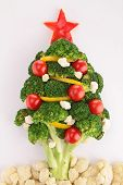 image of christmas meal  - christmas tree with vegetables - JPG