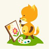 Little cute baby fox draws picture.
