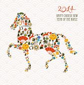 stock photo of happy new year 2014  - 2014 Chinese New Year of the Horse eastern elements composition - JPG