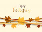 stock photo of happy thanksgiving  - Happy Thanksgiving background with maples leaves - JPG