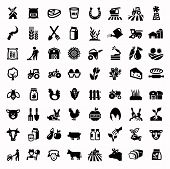 stock photo of chicken  - vector black agriculture and farming icons set - JPG