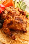 image of quail  - roasted quail with vegetables - JPG