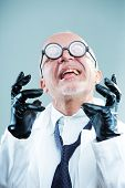 picture of mad scientist  - Crazy funny weird scientist exulting and laughing - JPG