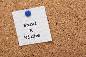 picture of niche  - The phrase Find a Niche on a paper note pinned to a cork notice board - JPG