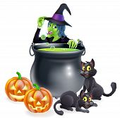stock photo of witches cauldron  - A cartoon Halloween scene with witch tipping her hat and cooking a bubbling cauldron full of green witch brew - JPG