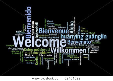 Welcome phrase in 78 different languages. Words cloud concept