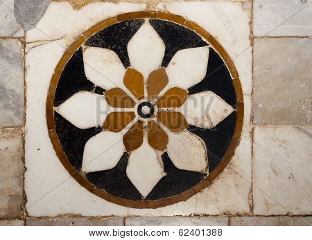 Carved Marble floor with Inlay work
