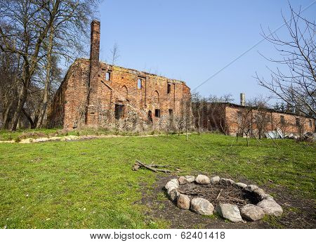 Camp Fire Place In Front Of Post Cistercian Ruins In Bierzwnik Village