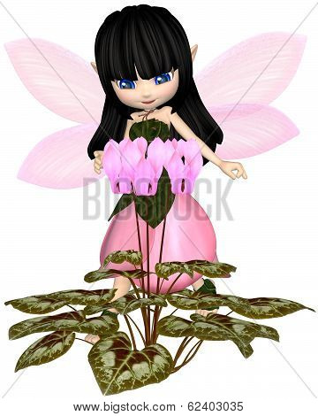 Cute Toon Pink Cyclamen Fairy, Standing