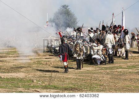 French Soldier Firing A Gun During The Representation Of The Battle Of Bailen, Bailén  Jaén Province