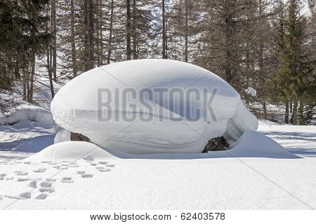 rock covered with a pile of snow and footprints