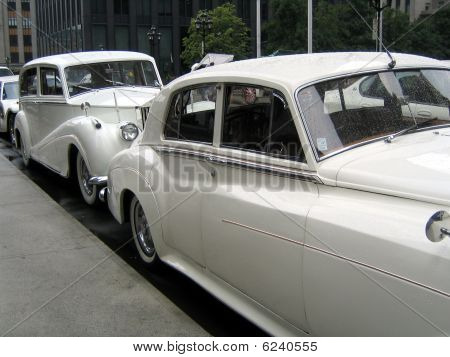 White Wedding Retro Cars