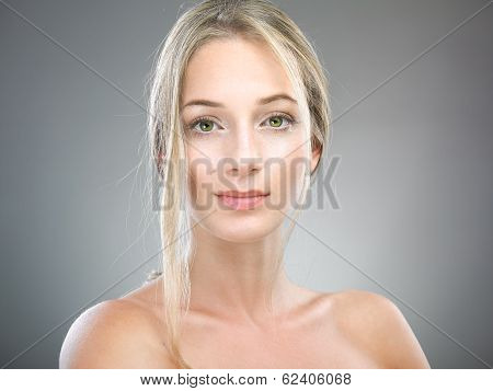 Portrait of beautiful woman with freckles
