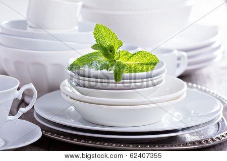 Variety of white dinnerware