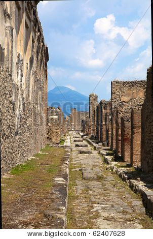Pompeii, Italy. The Ruins Of The Roman City Of Pompeii Circa 2013 In Pompeii. Pompeii, A Ruined Roma