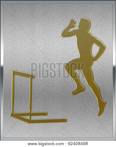 Gold On Silver Hurdles Sport Emblem