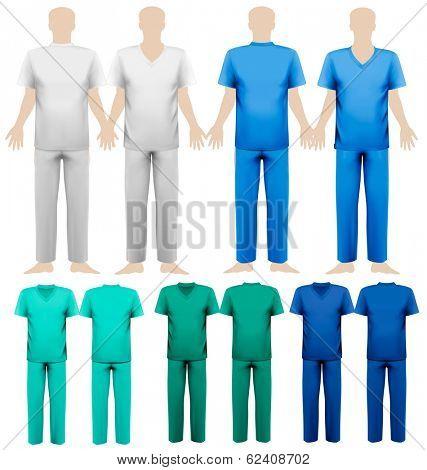 Set of medical overalls. Design template. Vector illustration.