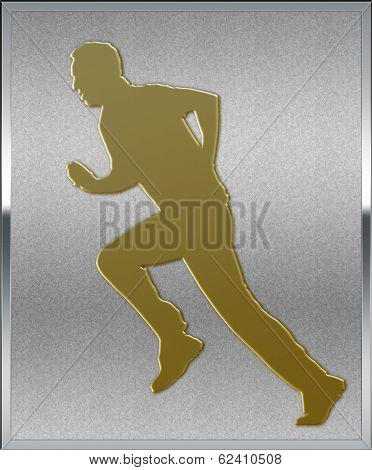 Gold On Silver Cricket Bowler Sport Emblem